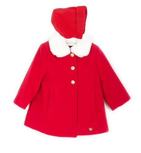 Abrigo bebe rojo cuello pelo con capota de Dolce Petit | Aiana Larocca