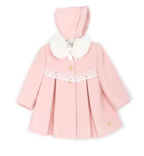Abrigo bebe rosa cuello pelo con capota de Dolce Petit | Aiana Larocca