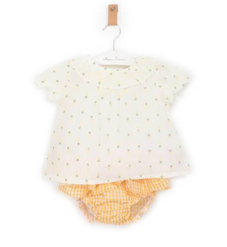 Conjunto bebe blusa estampado piñas y braguita volantes vichy de Coco Acqua | Aiana Larocca