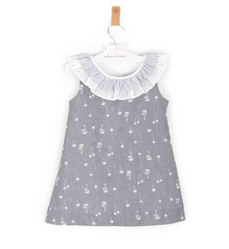 -NUEVO- Vestido niña palmeras cuello volante de Ancar | Aiana Larocca