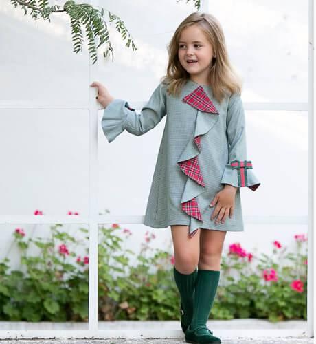 Vestido pata gallo verde con rojo de Rochy | Aiana Larocca