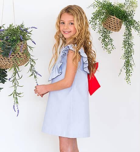 Vestido azul a rayas finas escote y lazada espalda | Aiana Larocca