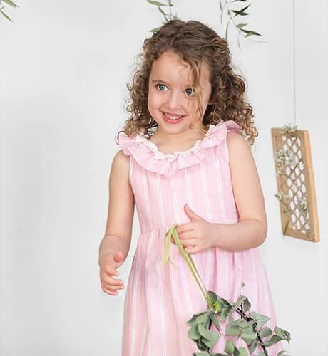 Vestido niña a rayas rosa y blanco de Ancar | Aiana Larocca
