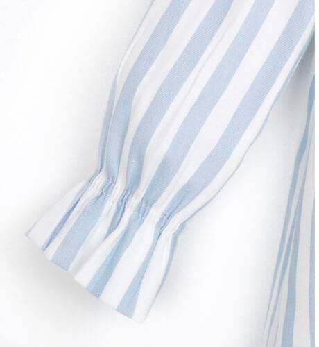 Vestido a rayas azul cuello volante de Rochy   Aiana Larocca