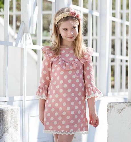 Vestido niña rosa lunares & manga francesa | Aiana Larocca