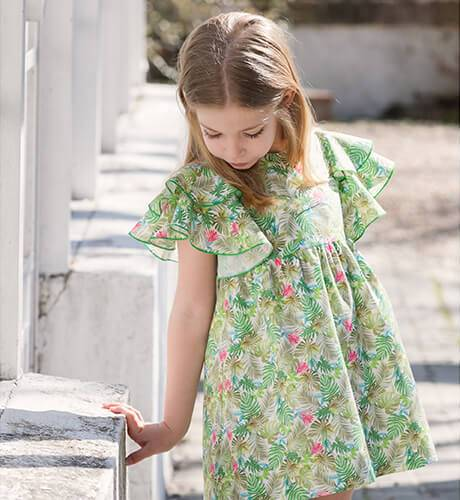 Vestido niña estampado palmeras de Blanca Valiente | Aiana Larocca