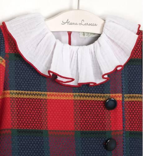 Vestido niña a cuadros marino y rojo de Marta y Paula | Aiana Larocca