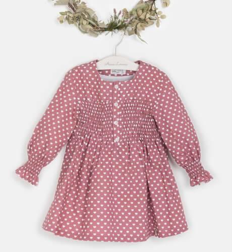 Vestido niña rosa corazoncitos de Vera by Nekenia   Aiana Larocca