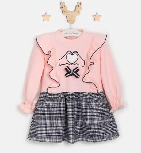 Vestido niña felpa rosa combinado con cuadros de Nekenia | Aiana Larocca