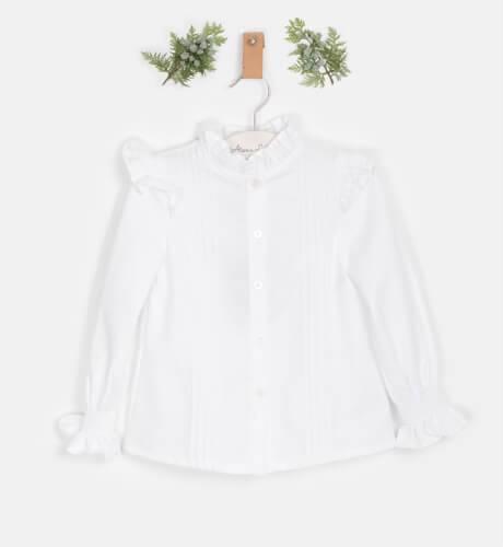 Blusa blanca volantito hombro de José Varón | Aiana Larocca