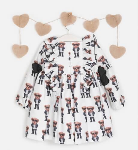 Vestido Oso volantes hombros de Mon Petit Bonbon | Aiana Larocca