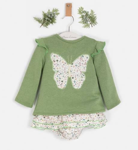 Conjunto bebé jersey verde y pololo liberty de Blanca Valiente | Aiana Larocca
