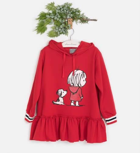 Vestido niña felpa rojo capucha perro de Mon Petit Bonbón | Aiana Larocca