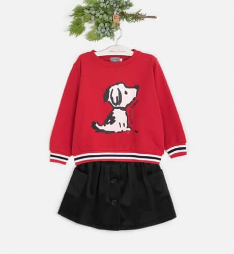 Sudadera niña roja perro de Mon Petit Bonbon | Aiana Larocca