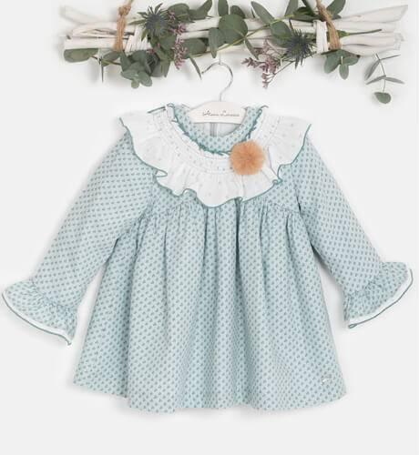 Vestido estampado verde agua cuello blanco de Yoedu | Aiana Larocca
