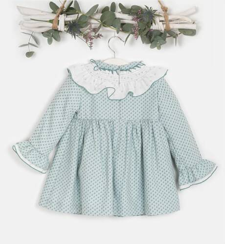Vestido estampado verde agua cuello blanco de Yoedu   Aiana Larocca