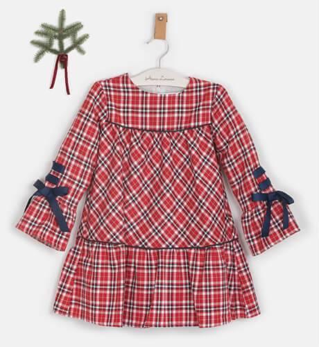Vestido niña cuadros escocés con cuello borreguito de Coco Acqua   Aiana Larocca