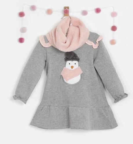 Vestido niña felpa gris cuello borreguito de Coco Acqua | Aiana Larocca