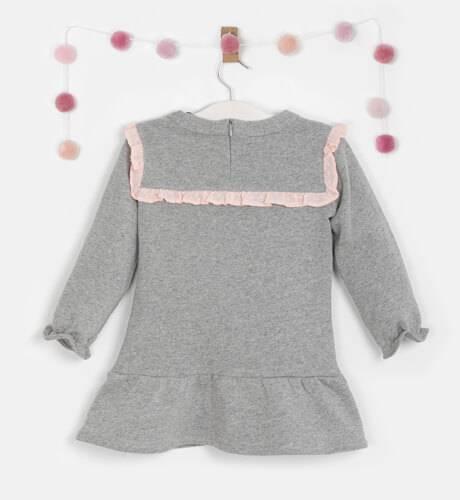 Vestido niña felpa gris cuello borreguito de Coco Acqua   Aiana Larocca