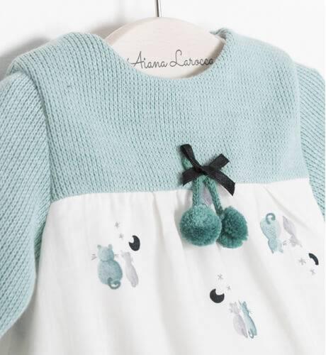 Ranita bebe gatitos combinada con punto verde de Micolino | Aiana Larocca