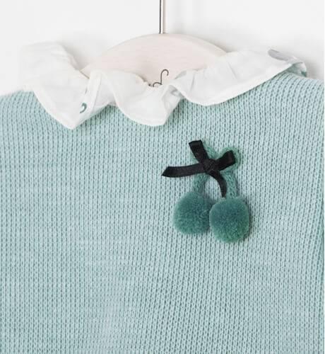 Conjunto bebe gatitos combinado con punto verde de Micolino | Aiana Larocca