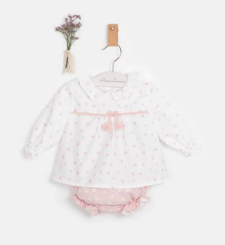 Conjunto bebe blusa y braguita rosa de Micolino   Aiana Larocca