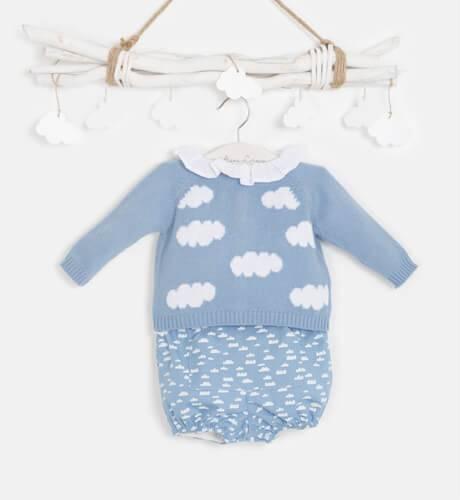 Conjunto bebe jersey azul nubes y bombacho de Micolino   Aiana Larocca