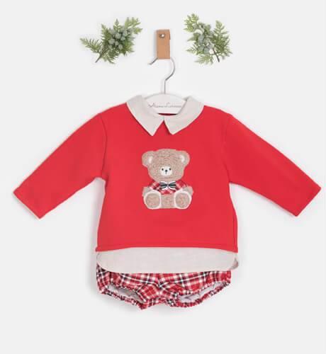 Conjunto bebé bombacho cuadros y jersey rojo Bear de Coco Acqua | Aiana Larocca