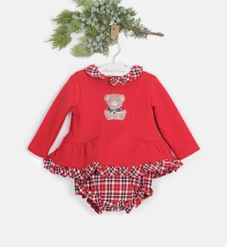 Conjunto bebé braguita a cuadros y jersey felpa Bear de Coco Acqua | Aiana Larocca