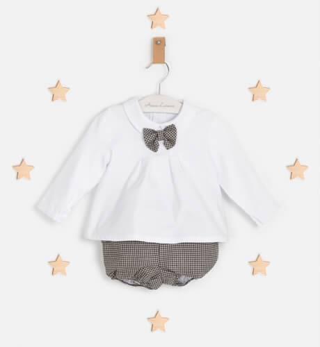 Conjunto bebé bombacho cuadritos gris y rosa y camisa de Marta y Paula | Aiana Larocca