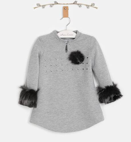 Vestido niña felpa gris con capucha y pelo de Vera by Nekenia | Aiana Larocca