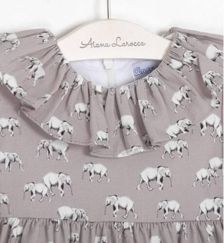 Vestido niña estampado elefantes de Ancar   Aiana Larocca