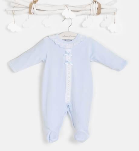 Pijama bebé terciopelo azul & puntilla de Valentina Bebés | Aiana Larocca