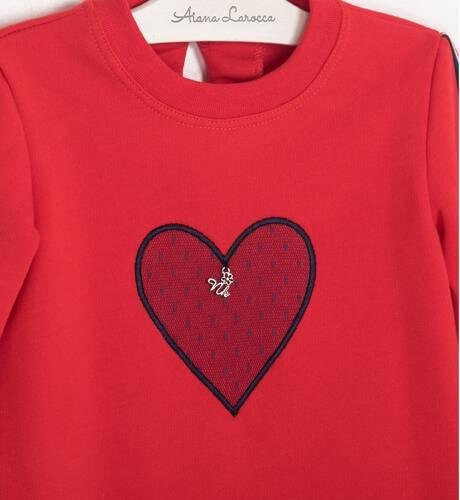 Vestido niña felpa corazón rojo puntilla marino de Nekenia   Aiana Larocca