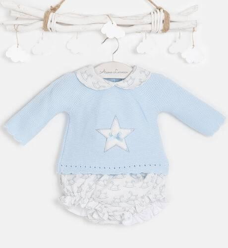 Conjunto jersey punto celeste estrella y pololo de Valentina Bebés   Aiana Larocca