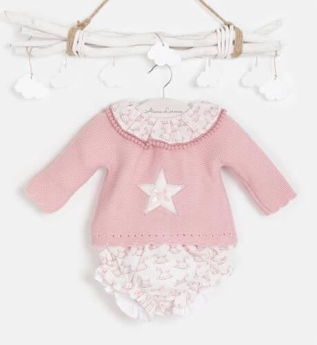 Conjunto jersey punto rosa estrella y pololo de Valentina Bebés   Aiana Larocca