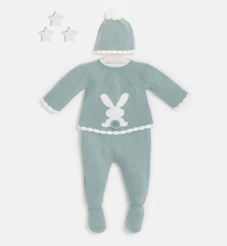 Conjunto bebé pelele conejo verde empolvado de Valentina Bebés | Aiana Larocca