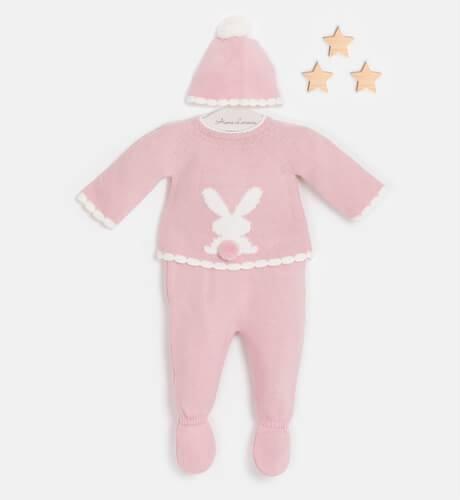 Conjunto bebé pelele conejo rosa empolvado de Valentina Bebés | Aiana Larocca