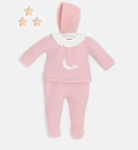 Conjunto bebé pelele luna rosa empolvado de Valentina Bebés | Aiana Larocca
