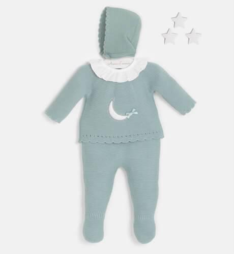 Conjunto bebé pelele luna verde empolvado de Valentina Bebés | Aiana Larocca