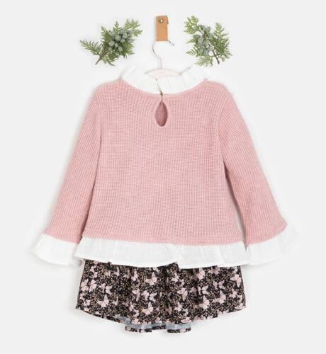 Conjunto jersey rosa y falda estampado mariposas de Coco Acqua | Aiana Larocca