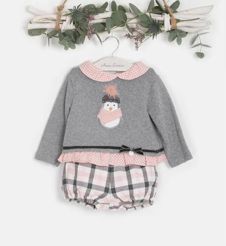 Conjunto bebé niña Jersey gris y pololo cuadros rosa de Coco Acqua   Aiana Larocca