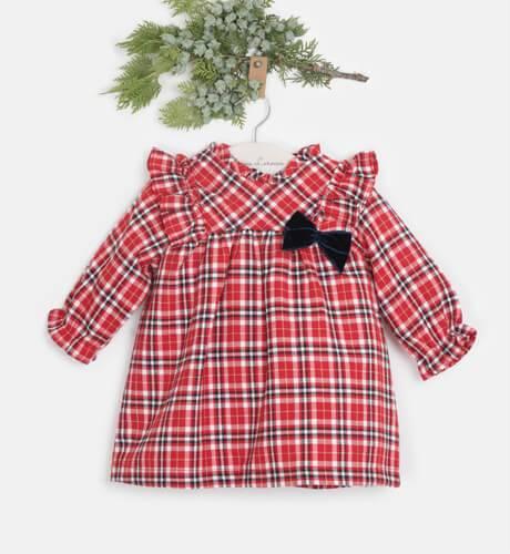 Vestido bebé a cuadros escocés lacito marino de Coco Acqua   Aiana Larocca