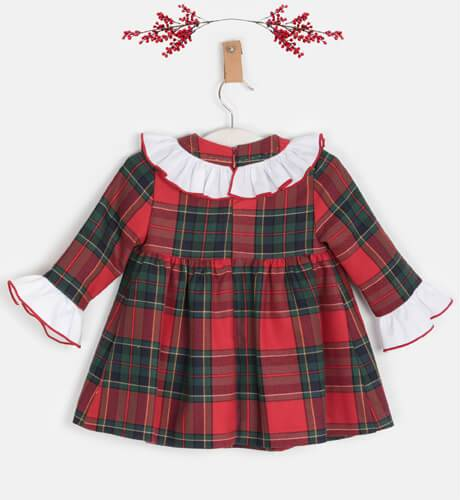 Vestido niña a cuadros rojo volantito blanco de Yoedu | Aiana Larocca