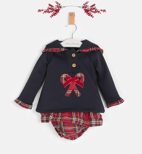 Conjunto Sudadera marino & pololo cuadros escocés de Valentina Bebés   Aiana Larocca