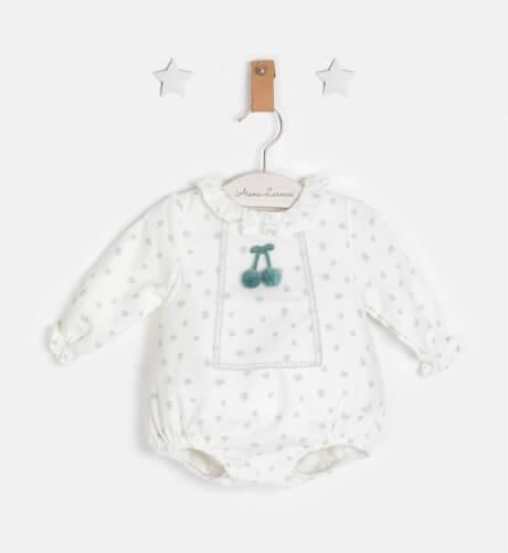 Ranita bebé estampado verde pompones de Micolinos   Aiana Larocca