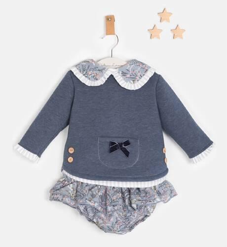 Conjunto bebé Sudadera azul pololo estampado de Valentina Bebés   Aiana Larocca