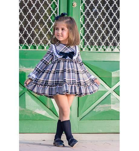 Vestido niña a cuadros lazo marino de Blanca Valiente | Aiana Larocca