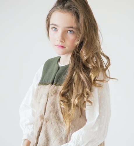 Chaleco paño verde pelo camel de Nueces Kids | Aiana Larocca
