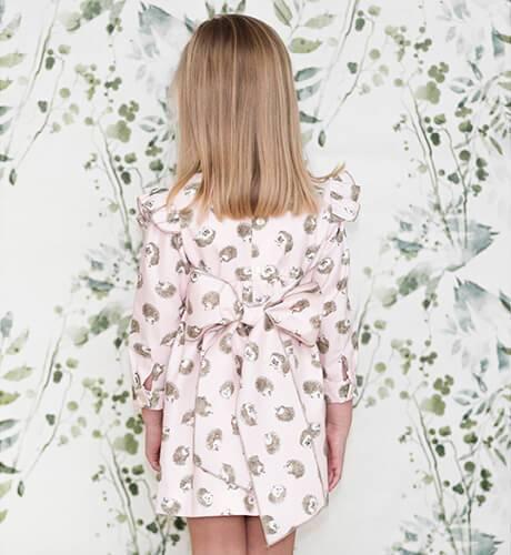Vestido niña rosa estampado erizos de Baby Yiro | Aiana Larocca